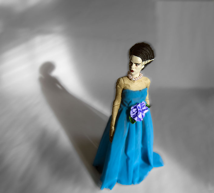 Bride of Frankenstein in formal evening wear