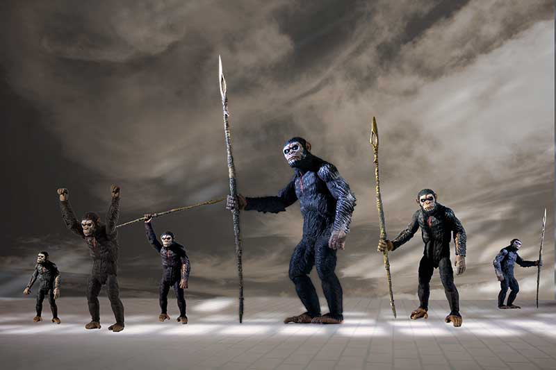 A group of apes, some have spears