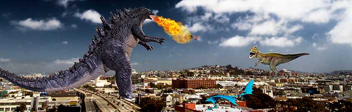 Godzilla and T-Rex in San Francisco