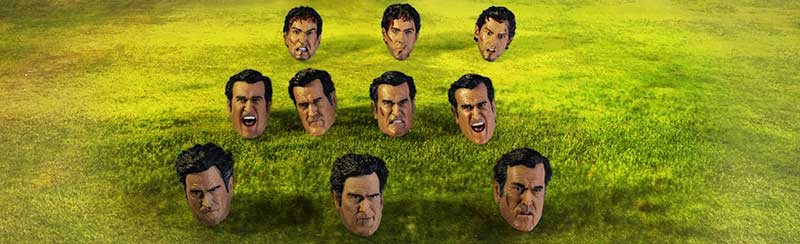 Many heads of Ash Williams